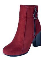 cheap -Women's Shoes Satin Fall & Winter Fashion Boots Boots Chunky Heel Round Toe Booties / Ankle Boots Brown / Red / Green