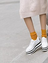 cheap -Women's Shoes Nappa Leather Spring & Summer Comfort Sneakers Creepers Closed Toe Gold / White / Black