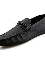 baratos -Homens sapatos Couro Ecológico Verão Mocassim Mocassins e Slip-Ons Preto / Marron / Khaki