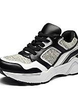 economico -Per donna Scarpe Lino / Pelle Primavera estate Comoda Sneakers Piatto Bianco / Nero