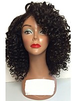cheap -Remy Human Hair Lace Front Wig Wig Brazilian Hair Curly Layered Haircut 130% Density With Baby Hair / Natural Hairline Black Women's Short Human Hair Lace Wig