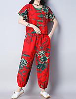 cheap -Women's Vintage / Chinoiserie Set - Floral / Plaid Pant