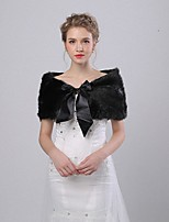cheap -Sleeveless Faux Fur Wedding / Party / Evening Women's Wrap With Ribbons Capelets