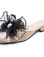 Недорогие -Жен. Обувь Полиуретан Лето Удобная обувь Тапочки и Шлепанцы На плоской подошве Черный / Серебряный