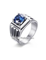 cheap -Men's Cubic Zirconia Band Ring - Stainless Steel Korean, Fashion Blue For Party / Festival