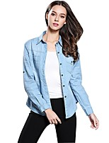 cheap -women's going out cotton shirt - solid colored shirt collar