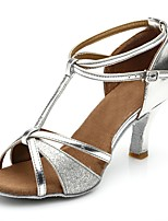 cheap -Women's Latin Shoes Synthetics Sandal / Heel Splicing Flared Heel Customizable Dance Shoes Silver