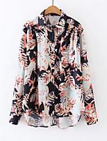 cheap -Women's Cotton Shirt - Floral Shirt Collar