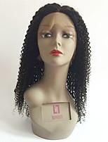 baratos -Cabelo Remy Frente de Malha Peruca Cabelo Brasileiro Encaracolado Corte em Camadas 150% Densidade Com Baby Hair / Riscas Naturais / Para Mulheres Negras Preta Mulheres Curto / Longo / Comprimento