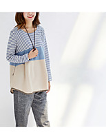 cheap -Women's Going out Basic Cotton T-shirt - Solid Colored / Striped Patchwork / Spring