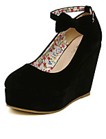 cheap -Women's Shoes Suede Spring Comfort Heels Wedge Heel Black / Red