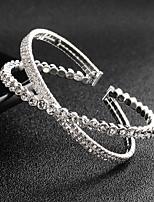 Недорогие -Жен. Браслет разомкнутое кольцо - европейский, Мода Браслеты Серебряный Назначение Свадьба / Повседневные