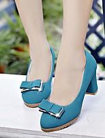 Недорогие -Жен. Обувь Полиуретан Весна Удобная обувь Обувь на каблуках На толстом каблуке Черный / Бежевый / Синий