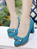 baratos -Mulheres Sapatos Couro Ecológico Primavera Conforto Saltos Salto Robusto Preto / Bege / Azul