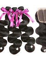 cheap -Brazilian Hair Wavy Natural Color Hair Weaves / Extension / Hair Weft with Closure 3 Bundles With  Closure 8-22 inch Human Hair Weaves 4x4 Closure Classic / Best Quality / Hot Sale Natural Black