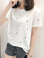 cheap -women's t-shirt - polka dot round neck