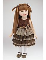 Недорогие -NPKCOLLECTION Модная кукла Девушка из провинции 18 дюймовый Полный силикон для тела / Силикон - Искусственная имплантация Коричневые глаза Детские Девочки Подарок