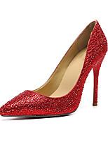 abordables -Mujer Zapatos Cuero Otoño invierno Pump Básico Zapatos de boda Tacón Stiletto Dedo Puntiagudo Purpurina Rojo / Boda / Fiesta y Noche