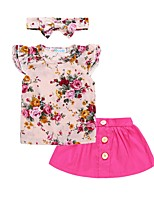 cheap -Baby Girls' Basic Solid Colored / Floral Print Sleeveless Cotton Clothing Set