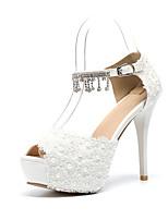 cheap -Women's Shoes PU(Polyurethane) Spring & Summer D'Orsay & Two-Piece Wedding Shoes Stiletto Heel Peep Toe Satin Flower / Sparkling Glitter