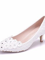 cheap -Women's Shoes PU(Polyurethane) Spring & Summer Basic Pump Wedding Shoes Low Heel Pointed Toe Sparkling Glitter White / Party & Evening