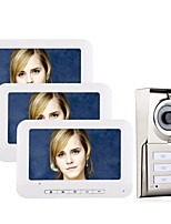 cheap -7inch LCD 3 Apartments Video Door Phone Intercom System IR-CUT HD 1000TVL Camera Doorbell Camera