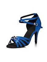 baratos -Mulheres Sapatos de Dança Latina Cetim Sandália Pedrarias Salto Alto Magro Sapatos de Dança Azul