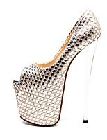 abordables -Femme Chaussures Polyuréthane Automne hiver Escarpin Basique Chaussures à Talons Talon Aiguille Bout ouvert Boucle Argent / Mariage