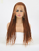 cheap -Synthetic Lace Front Wig Matte Braid Synthetic Hair Heat Resistant / Braided Wig Brown Wig Women's Long Lace Front / Yes