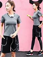 abordables -Femme Costume de yoga - Gris, Violet, Rose Des sports Ensemble de Vêtements Exercice & Fitness Manches Courtes Grandes Tailles Tenues de Sport Séchage rapide Elastique