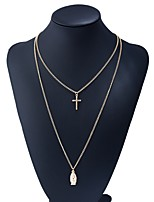cheap -Women's Layered Necklace - Cross Basic, Sweet Gold 40 cm Necklace 1pc For Daily, Date