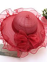 Недорогие -Жен. Классический / Симпатичные Стиль Соломенная шляпа / Шляпа от солнца Однотонный / Цветочный принт