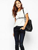 abordables -Mujer Noche Algodón Camiseta Geométrico