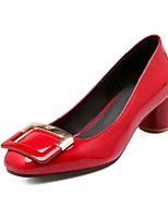 cheap -Women's Shoes Patent Leather Fall & Winter Basic Pump Heels Chunky Heel Square Toe Buckle White / Black / Red