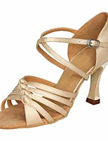 cheap -Women's Latin Shoes Satin Heel Slim High Heel Dance Shoes Beige / Performance / Leather / Practice