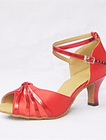 cheap -Women's Latin Shoes Satin Heel Slim High Heel Dance Shoes Red / Performance / Leather / Practice