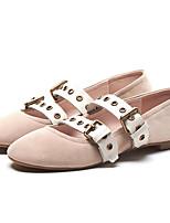cheap -Women's Shoes Suede Summer Ballerina Flats Flat Heel Round Toe Buckle Black / Pink / Almond