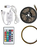 cheap -2m Flexible LED Light Strips / RGB Strip Lights / Remote Controls 60 LEDs SMD5050 1 24Keys Remote Controller RGB / RGB+White Cuttable / USB / Waterproof 5 V 1set