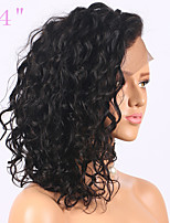 cheap -Remy Human Hair Lace Front Wig Wig Brazilian Hair / Water Wave Curly Bob Haircut 130% Density With Baby Hair / Natural Hairline / African American Wig Natural Women's Short Human Hair Lace Wig