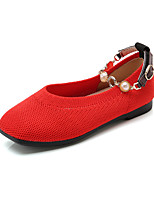cheap -Girls' Shoes Knit Spring & Summer Comfort Flats Walking Shoes Imitation Pearl for Teenager Black / Beige / Red
