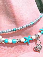 abordables -Turquoise Effets superposés Bracelet de cheville - Cœur Rétro, Bohème, Mode Turquoise Pour Vacances / Bikini / Femme / Multicouches