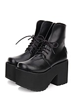 cheap -Gothic Lolita Dress / Punk Lolita Dress Punk Creepers Shoes Solid Colored 10 cm CM Black For PU(Polyurethane)