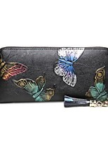 cheap -Women's Bags Cowhide Wallet Pattern / Print / Zipper Red / Rainbow / Silver