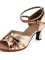 baratos -Mulheres Sapatos de Dança Latina Sintéticos Salto Salto Cubano Personalizável Sapatos de Dança Dourado / Prateado / Preto / Vermelho