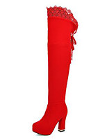 cheap -Women's Shoes Suede Fall & Winter Fashion Boots Boots Chunky Heel Round Toe Over The Knee Boots Stitching Lace Black / Red / Party & Evening