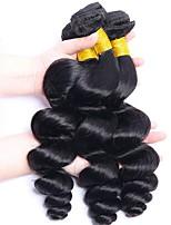 Недорогие -3 Связки Индийские волосы Волнистый Необработанные Человека ткет Волосы / Удлинитель / Пучок волос 8-28 дюймовый Естественный цвет Ткет человеческих волос Машинное плетение