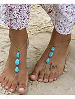 abordables -Turquoise Lasso Sandales Pieds Nus - Goutte Bohème, Bikini Or Pour Vacances / Bikini / Femme