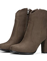 cheap -Women's Shoes Suede Fall & Winter Fashion Boots / Combat Boots Boots Chunky Heel Pointed Toe Booties / Ankle Boots Buckle Dark Grey / Army Green / Khaki