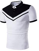 cheap -Men's Basic Polo - Color Block Black & White