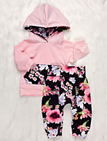 cheap -Baby Girls' Solid Colored / Color Block Long Sleeve Clothing Set